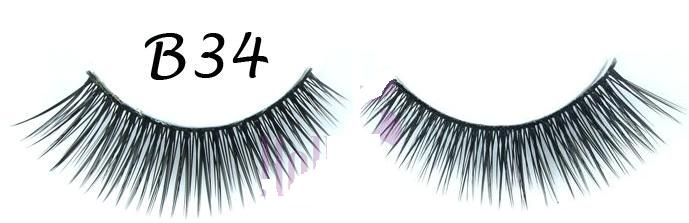 Thick Sweeping Black False Eyelashes #B34
