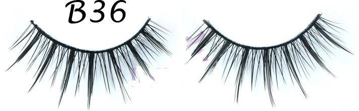 Wispy Textured Black Fake Eyelashes #B36