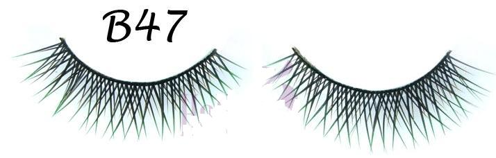Criss Cross Fake Eyelashes with Green Polished Tips #B47